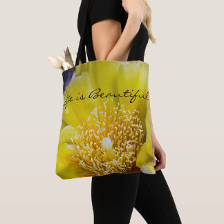 Life is Beautiful Prickly Pear Cactus Tote Bag