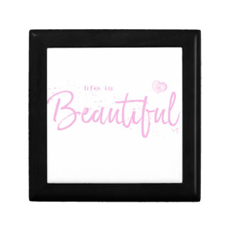 Life is Beautiful,Quote Text Pink Gift Box