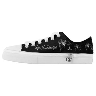 Life Is Beautiful White Lily Sketch Low-Top Sneakers