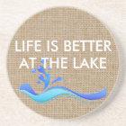 Life Is Better At Lake(white) Burlap Stone Coaster