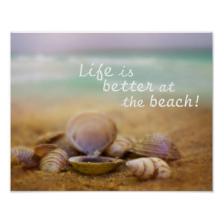 Life is better at the beach customizable poster