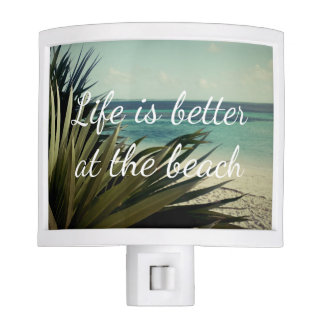 Life is better at the beach palm leaf night light