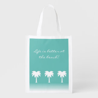 Life is better at the beach reusable grocery bags
