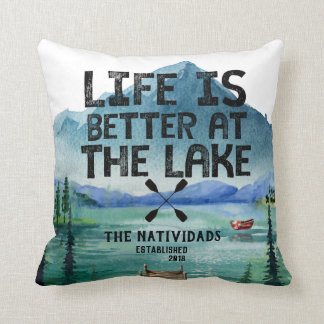 Life is Better at the Lake - Family Name Pillow