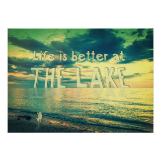Life Is Better at the Lake Tiny Bird Poster