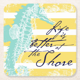 Life is Better at the Shore Square Paper Coaster