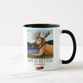 Life Is Better In Maine Yellow Lab Moose Antlers Mug