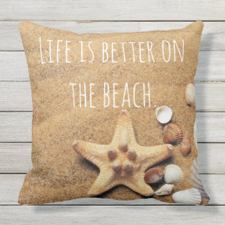 Life is Better On the beach Fun Nautical inspired Throw Pillow