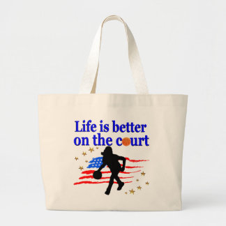 LIFE IS BETTER ON THE COURT USA DESIGN LARGE TOTE BAG