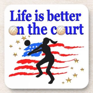 LIFE IS BETTER ON THE COURT USA VOLLEYBALL DESIGN BEVERAGE COASTER
