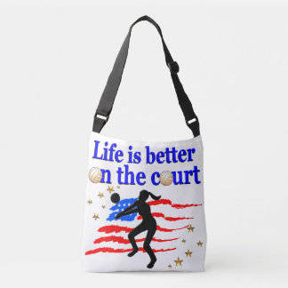 LIFE IS BETTER ON THE COURT USA VOLLEYBALL DESIGN CROSSBODY BAG