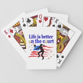 LIFE IS BETTER ON THE COURT USA VOLLEYBALL DESIGN PLAYING CARDS