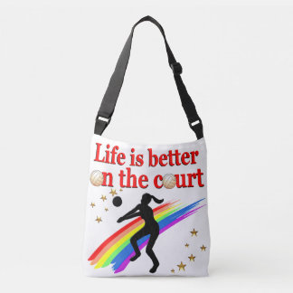 LIFE IS BETTER ON THE COURT VOLLEYBALL DESIGN CROSSBODY BAG