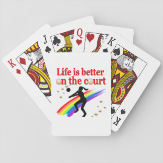 LIFE IS BETTER ON THE COURT VOLLEYBALL DESIGN PLAYING CARDS