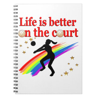 LIFE IS BETTER ON THE COURT VOLLEYBALL DESIGN SPIRAL NOTE BOOK