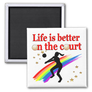 LIFE IS BETTER ON THE COURT VOLLEYBALL DESIGN SQUARE MAGNET