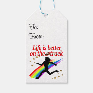 LIFE IS BETTER ON THE TRACK RUNNER DESIGN PACK OF GIFT TAGS