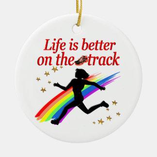 LIFE IS BETTER ON THE TRACK RUNNER DESIGN ROUND CERAMIC ORNAMENT