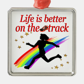 LIFE IS BETTER ON THE TRACK RUNNER DESIGN Silver-Colored SQUARE ORNAMENT