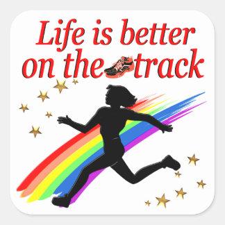 LIFE IS BETTER ON THE TRACK RUNNER DESIGN SQUARE STICKER