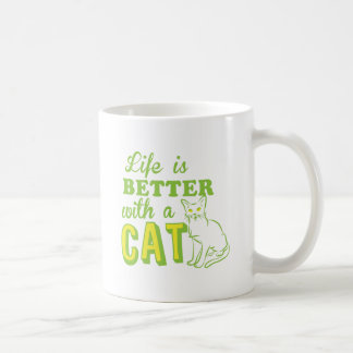 life is better with a cat coffee mug