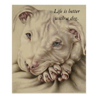 Life is Better with a Dog: Pit Bull Poster
