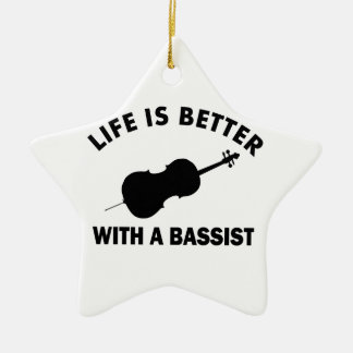 Life is better with a double bass ceramic ornament