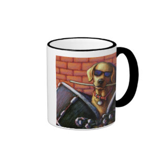 """""""Life is Better With a Drummer"""" Yellow Lab Drums Ringer Mug"""