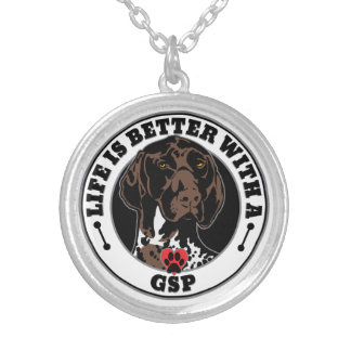 Life Is Better With A German Shorthaired Pointer Silver Plated Necklace