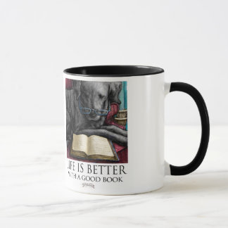 Life Is Better With A Good Book- Black Lab Reading Mug