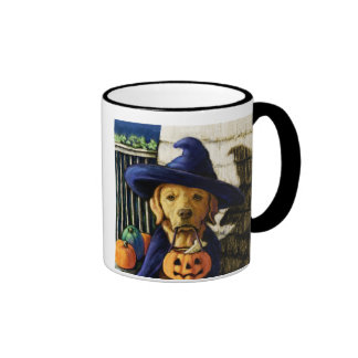"""""""Life is Better With a Lab"""" Halloween Witch Ringer Coffee Mug"""