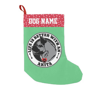 Life Is Better With An Akita Dog Small Christmas Stocking