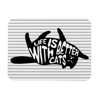 Life is better with cats | Fun Typography Magnet