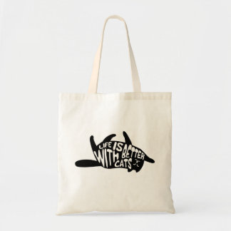 Life is better with cats   Fun Typography Tote Bag
