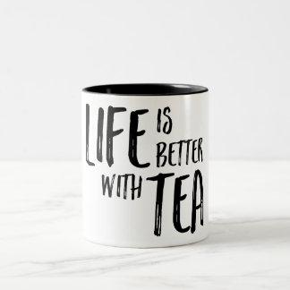Life is Better with Tea Design Two-Tone Coffee Mug