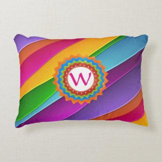 Life is Colorful Monogram Customizable Decorative Pillow