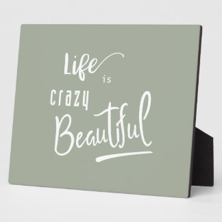 Life is crazy Beautiful Quote Text Plaque