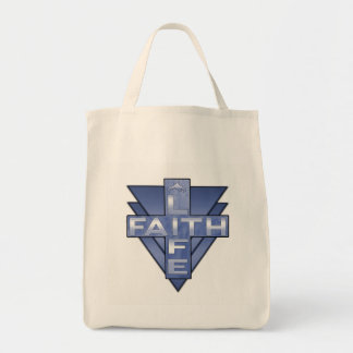 Life is Faith Blue Victory Design Tote Bag