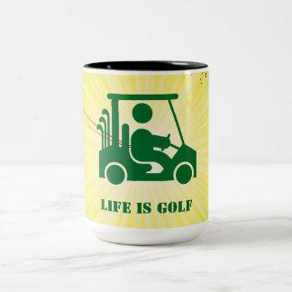 Life is Golf Golfer Golf Cart Green Yellow Mug