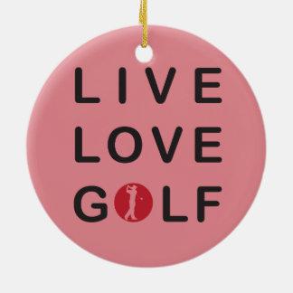 Life is Golf Golfer Golf Cart Yellow Ornament
