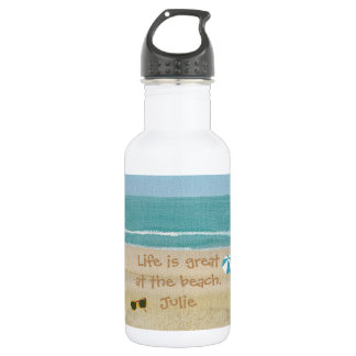 Life is great beach scene sunglasses water bottles