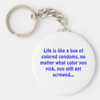 Life is like a box of colored condoms - Keychain