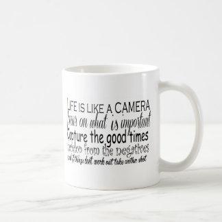Life is like a camera classic white coffee mug