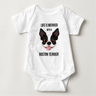 Life is Merrier with a Boston Terrier Baby Bodysuit