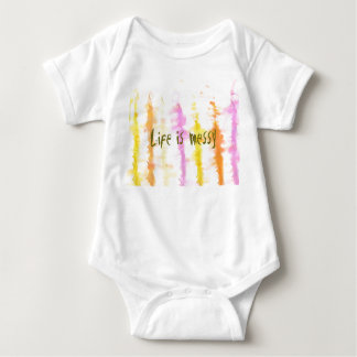 Life is messy Abstract Dripping Paint Stripes Baby Bodysuit