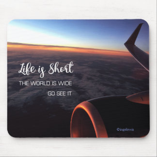 Life is short...Sky Clouds Wings Inspirational Mouse Pad