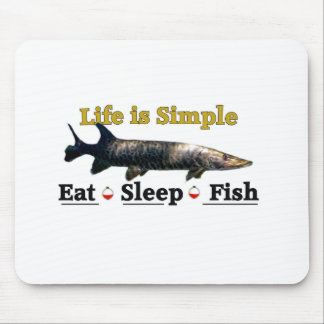 Life is Simple eat sleep fish Mouse Pad
