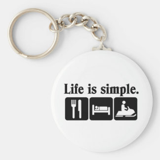 Life is simple, snowmobiling basic round button keychain
