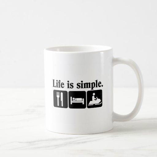 Life is simple, snowmobiling mug
