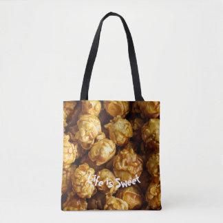 Life is Sweet Caramel Popcorn Tote Bag